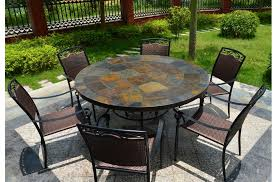 Mosaic Dining Room Table 63 U0027 U0027 Round Slate Outdoor Patio Dining Table Stone Oceane