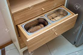 kitchen cupboard with drawers kitchen cupboard wooden drawers with metal containers for bread