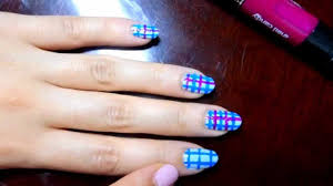 super cute plaid inspired nail art light blue dark blue and