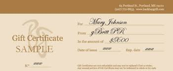 restaurant gift cards back bay grill gift certificates