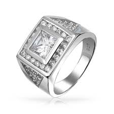 mens silver rings square princess cut cz pave triangles mens engagament ring silver