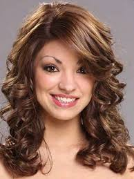 collections hairstyles for long curly with bangs cute