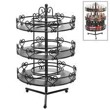 amazon com 3 tier salon style black metal spinning carousel nail