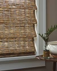 close up view of the provenance woven wood shades closed in the