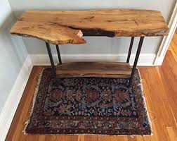 Cherry Wood Sofa Table by Live Edge Slab Entry Table Sofa Table Entryway Console Table