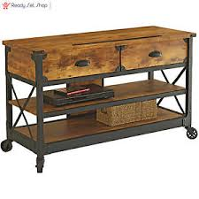 Rustic Tv Console Table New Rustic Tv Console Table Stand Wood Wheels Sofa Storage Shelf