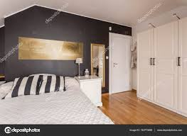 White Bedroom With Gold Accents Black And White Bedroom With Gold Accents U2014 Stock Photo