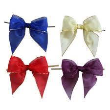 wholesale pre made ribbon bow twist tie bow customized pre