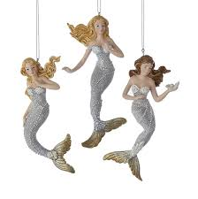silver gold mermaid ornament trio mermaid gifts collectibles