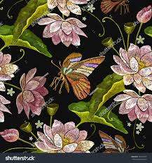 embroidery lotus flowers butterfly seamless pattern stock vector