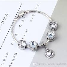 pandora link bracelet images Wholesale 18 20cm 925 sterling silver double faceted round crystal jpg