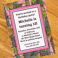 pink camo personalized invitations
