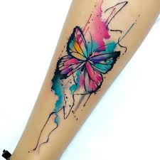 butterfly and design shin and tatoo