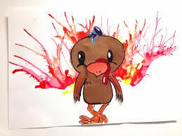 2nd thanksgiving smart class blow paint turkeys 2nd and 3rd grade