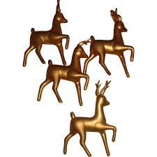 4 vintage hong kong hollow gold plastic reindeer ornaments for