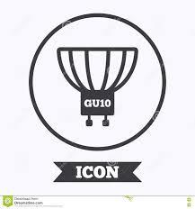 light bulb icon lamp gu10 socket symbol stock vector image