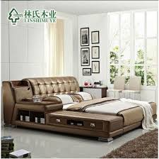 Modern Genuine Leather Sofa 2017 Modern Genuine Leather Bed Double Person Sofa Bed Storage Bed