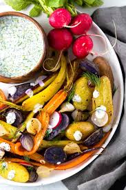 Recipe For Roasted Root Vegetables - oven roasted root vegetables with ranch sauce jessica gavin