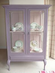shabby chic vintage glass display cabinet painted with annie sloan