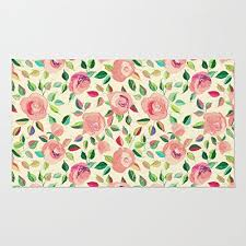 Poppy Kitchen Rug Poppylife Pastel Roses In Blush Pink And Area Rug Home Enter