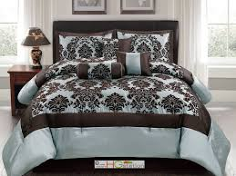Blue And Brown Bed Sets 7 Pc Silky Poly Satin Flocking Damask Floral Square Comforter Set
