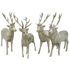 1900s antique set of four german silver stag table ornaments at
