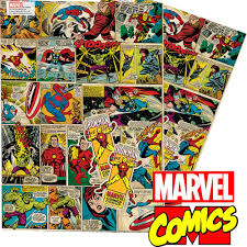 marvel wrapping paper marvel comics vintage retro style gift wrap and tags co uk