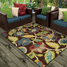 Blue Brown Area Rugs Orian Rugs Indoor Outdoor Floral Basil Brown Area Rug 5 2 X 7 6
