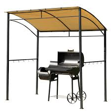 Outdoor Patio Grill Gazebo by Amazon Com Outsunny Bbq Grill Canopy Steel Frame Shelter Brown
