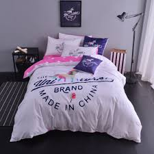 British Flag Bedding White Cotton Bedding Set Unicorn Duvet Cover Quilt Cover Pink