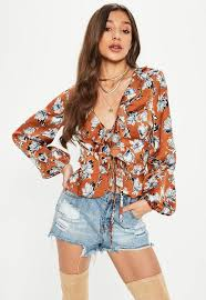 ruffle blouse brown floral wrap ruffle blouse missguided