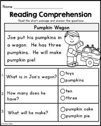 kindergarten reading comprehension passages fall edition by