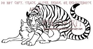 tiger and wolf lineart by wildspiritwolf on deviantart