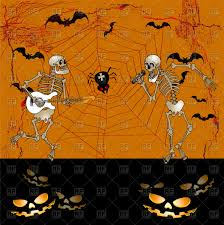 halloween dancing skeleton halloween greeting card with dancing skeletons vector image 72860