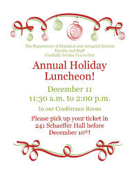 holiday lunch invitation holiday luncheon department of statistics and actuarial science