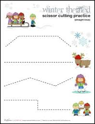 printable preschool cutting activities winter scissor cutting practice sheets printables cutting