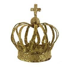 golden glitter crown decoration and centerpiece