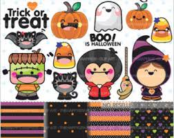 halloween clipart creation kit pumpkin kawaii halloween cute digital clipart commercial use ok