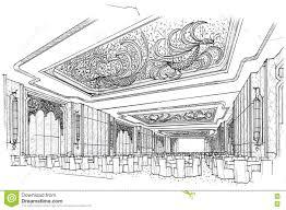 sketch interior perspective ballroom black and white interior