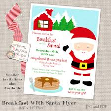 printable breakfast with santa invitation flyer pancakes with