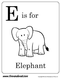 e is for elephant printable tim u0027s printables