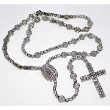rosary necklace silver images Rosary necklace chain simulated cubic zarcons ful white cz 8mm 40 jpg