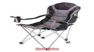 picnic time portable reclining camp chair black gray reviews