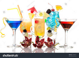 martini tropical popular alcoholic cocktails composition many cocktail stock photo