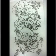 outline skull and roses half sleeve tattoos