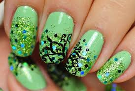 nail art mint green sparkling design abstract flowers youtube