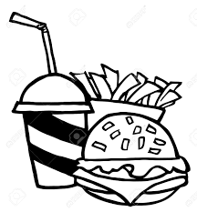 outlined cheeseburger with cola and french fries royalty free