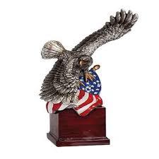 Bald Eagle On Flag American Eagle On Wood Base I Love Trophies
