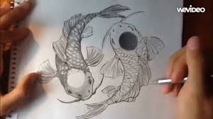 yin yang koi fish pencil pen drawing timelapse tutorial youtube