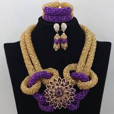 gold crystal beaded necklace images Elegant purple with gold crystal handmade african nigerian png
